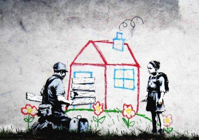 banksy-soldado_nina_casa_colores