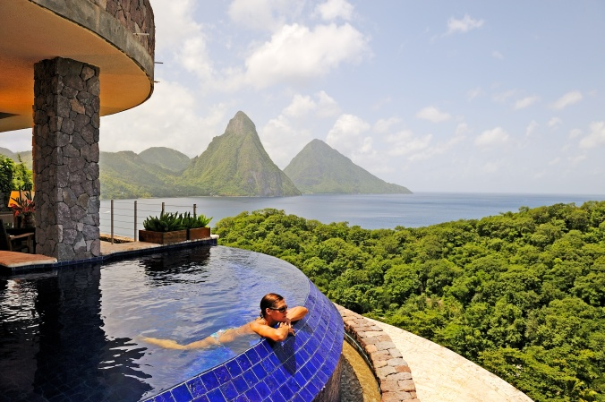 Fotos de las mejores piscinas del mundo - Jade Mountain Santa Lucia