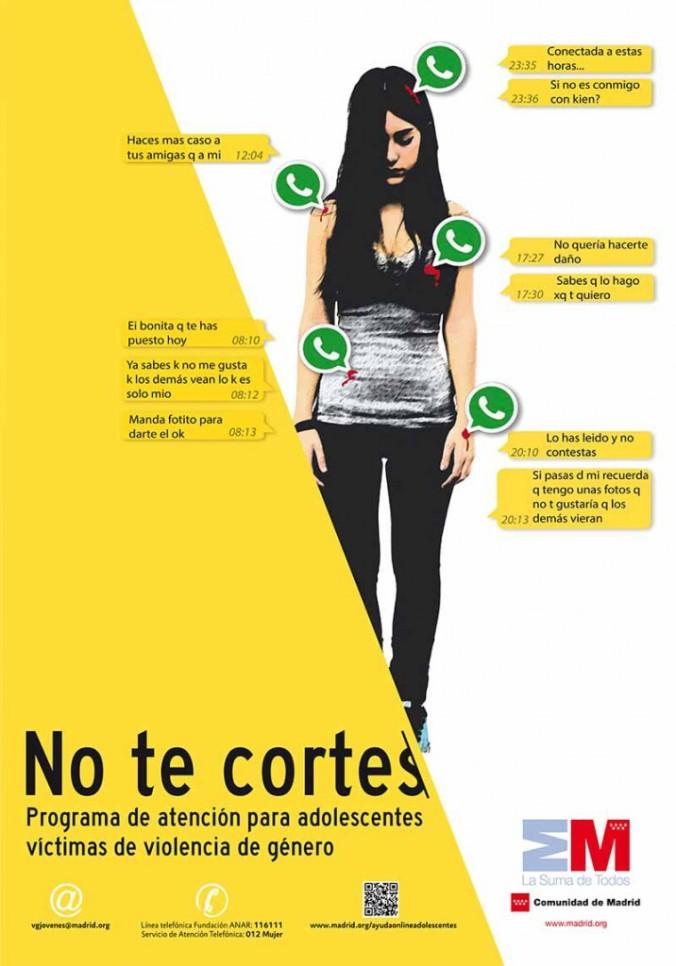 """Campaña """"No te cortes"""", contra la violencia de género en adolescentes, puesta en marcha el año pasado en Madrid"""